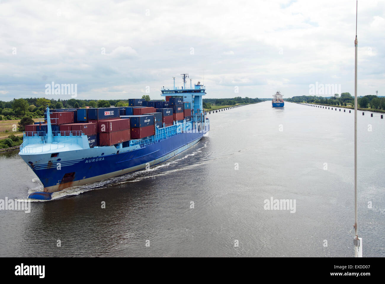 Freighter in the Kiel Canal - Stock Image
