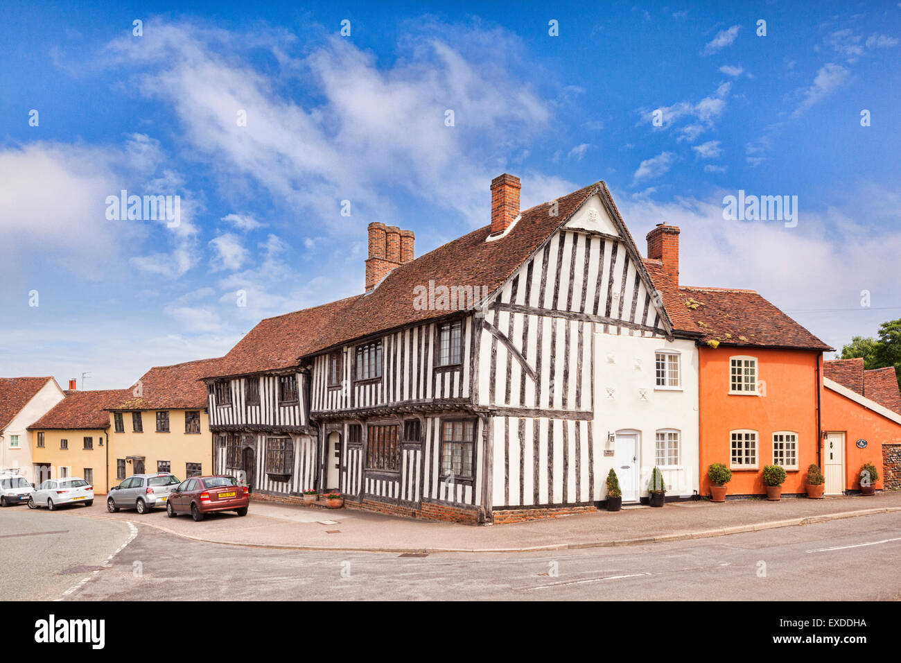 Medieval and half timbered houses in the village of Lavenham, Suffolk, England. - Stock Image