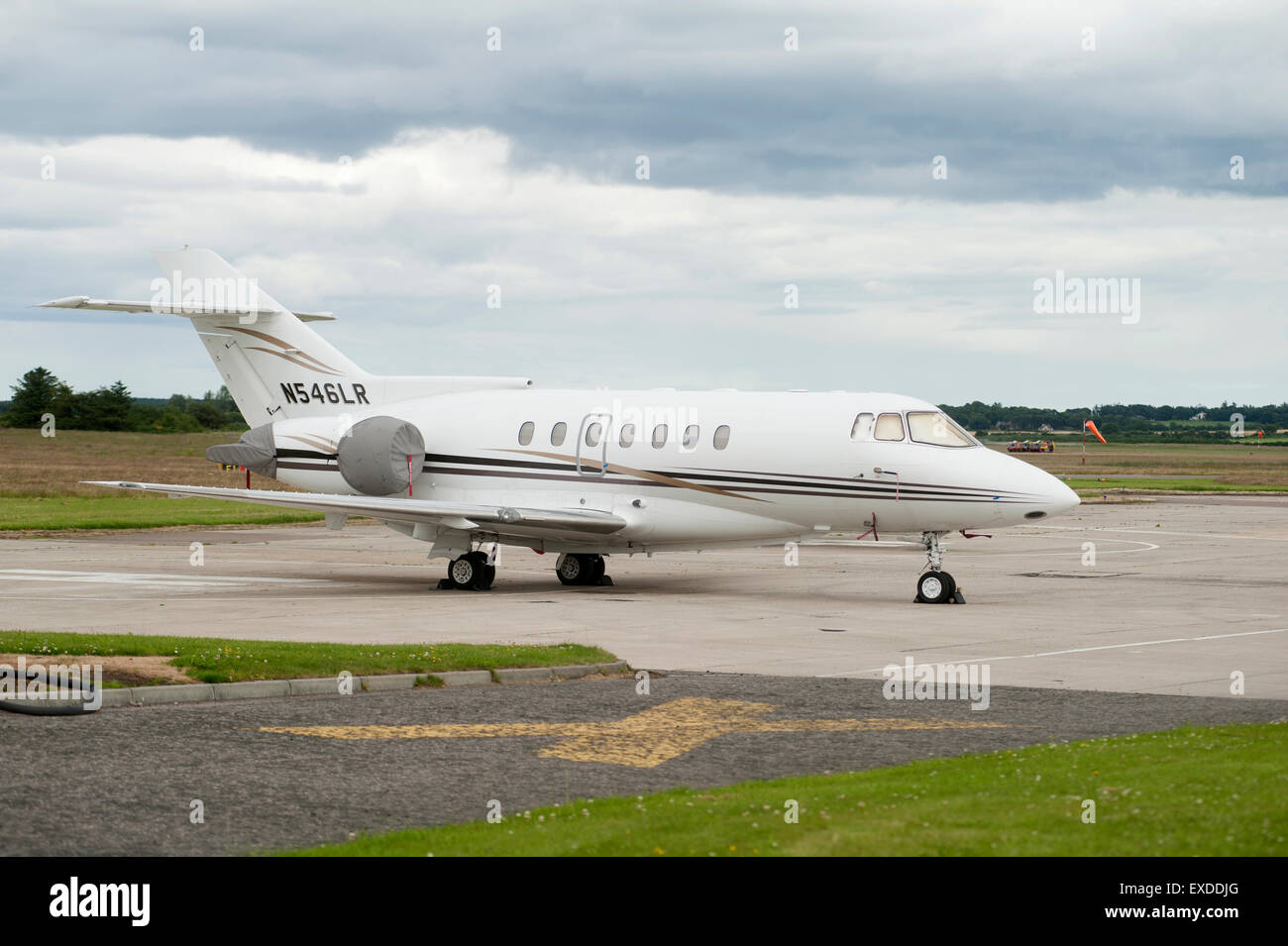 Ratheron Hawker 100 parked at Inverness Airport in Highland Scotland.  SCO 9939. Stock Photo