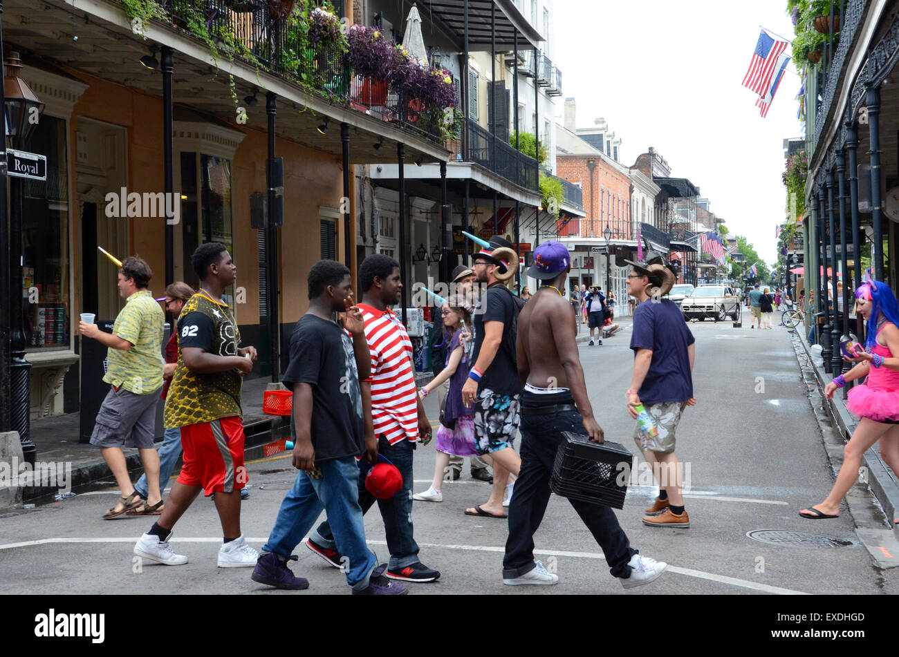 tourists meet locals french quarter new orleans - Stock Image