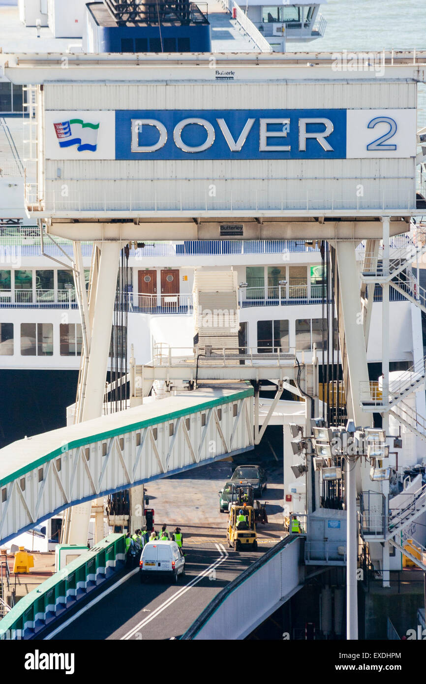 Dover docks, England. High angel shot of ferry terminal, with ferry and truck driving on, terminal, Dover 2 - Stock Image