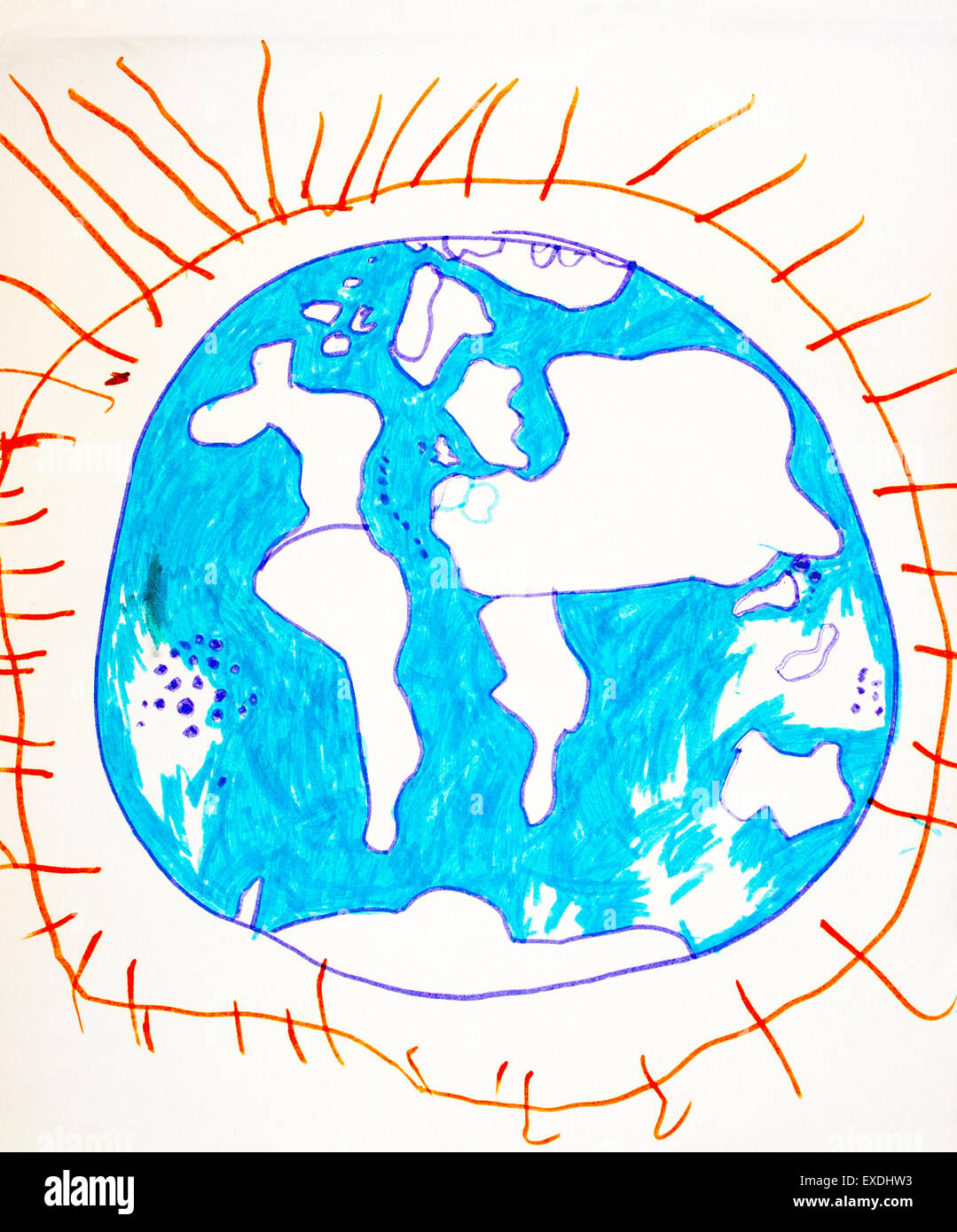 Drawing, map of the world, globe, drawn by six year old school