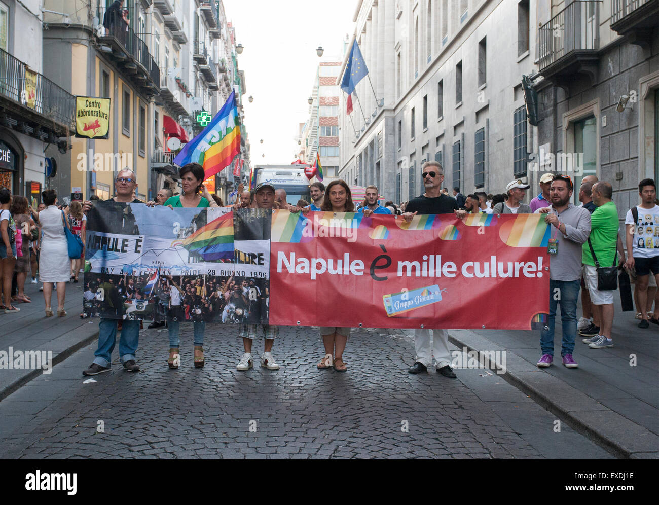 Thousand of heterosexuals, lesbians, gays, bisexuals and transgenders proudly join the Mediterranean Pride of Naples. - Stock Image