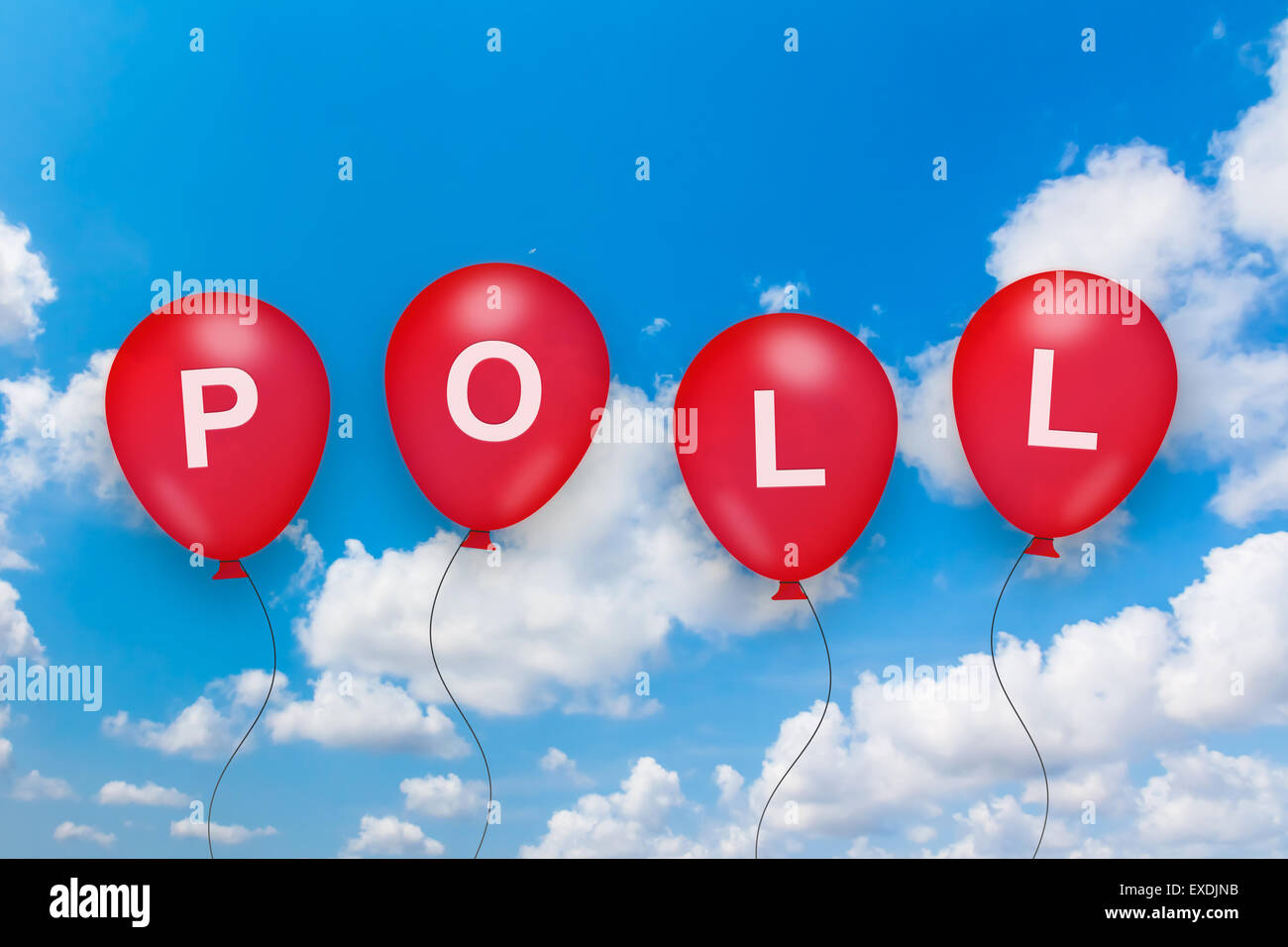 political poll text on balloon with blue sky background - Stock Image