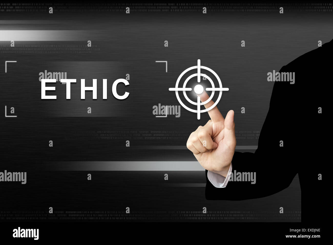 business hand clicking ethic button on a touch screen interface - Stock Image