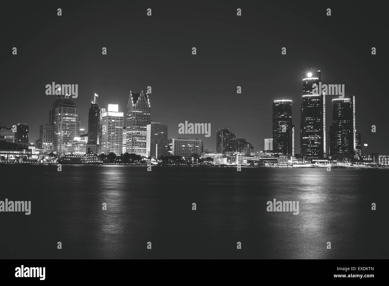 Detroit at Night Black and White - Stock Image