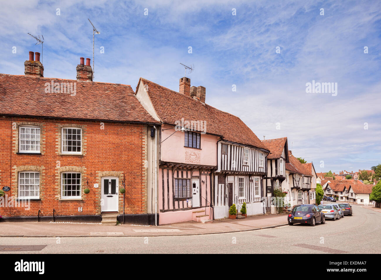 High Street in Lavenham,England's best preserved medieval village, Suffolk, England. - Stock Image