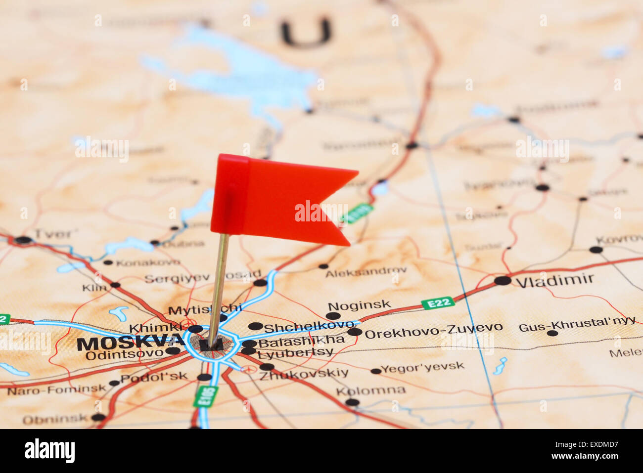 Moscow Pinned On A Map Of Europe Stock Photo 85123955 Alamy