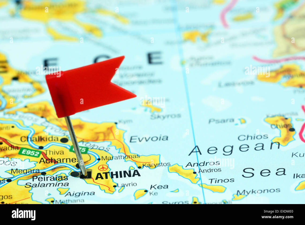 Athens Pinned On A Map Of Europe Stock Photo 85123976 Alamy