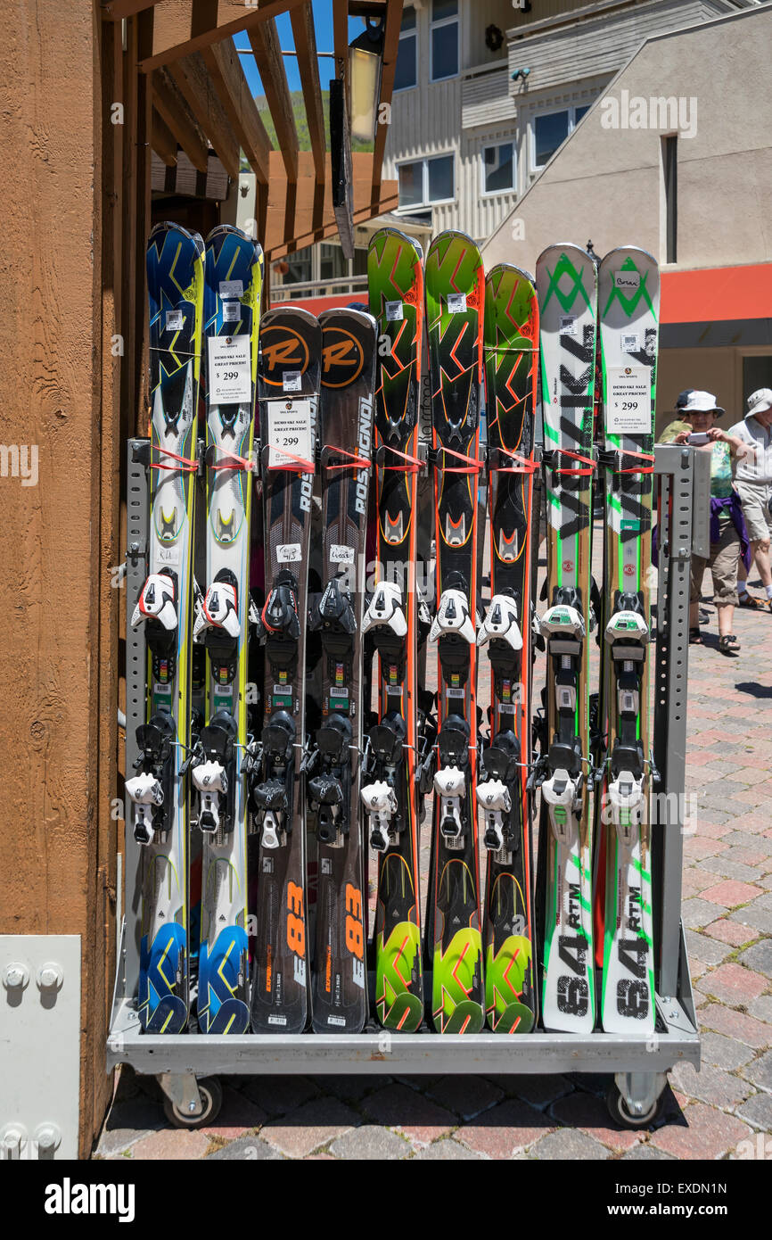 Stand with skis, Town of Vail , Colorado, USA, North America, United States - Stock Image