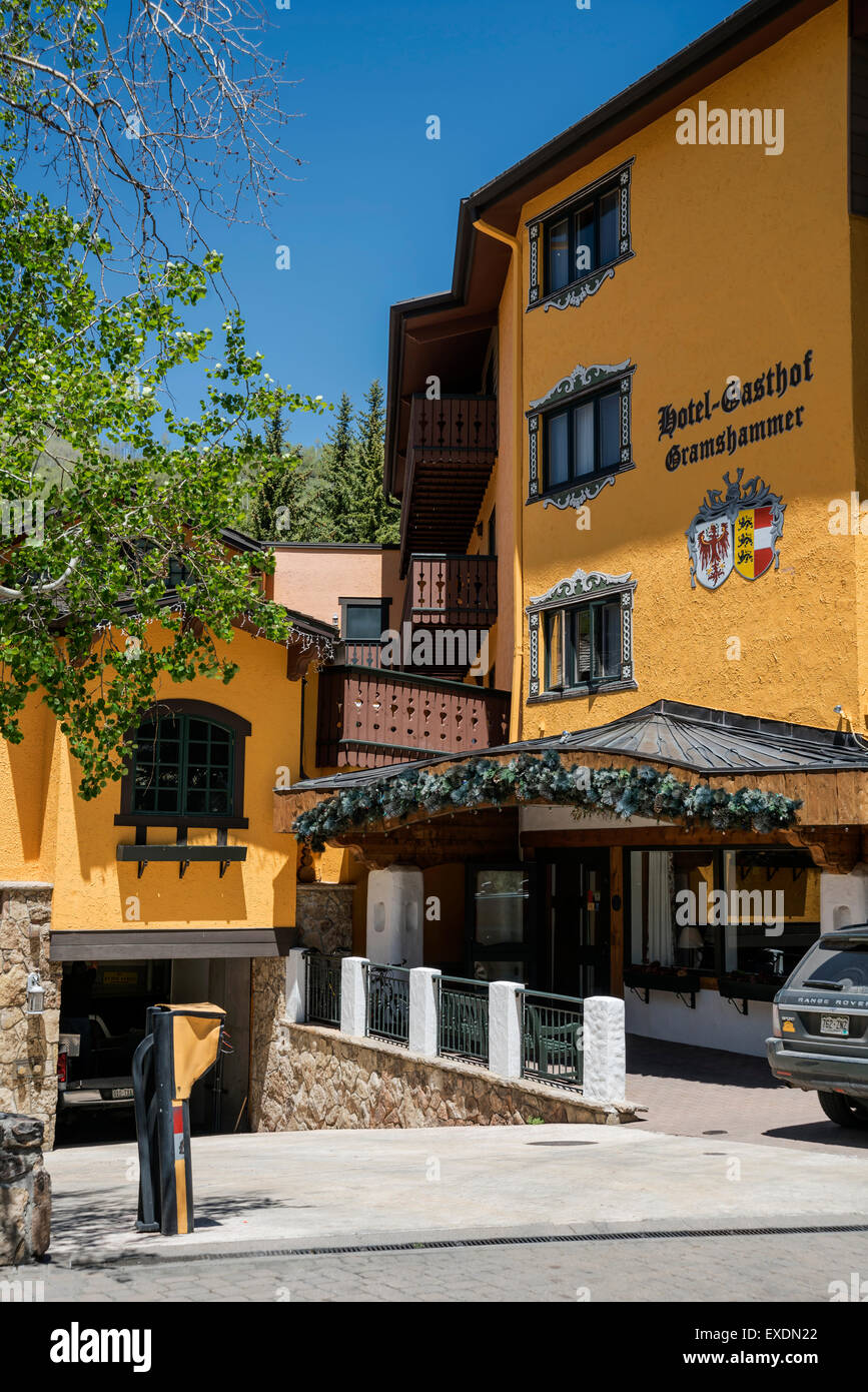 Hotel Gasthof Gramshammer, The Town of Vail , Colorado, USA, North America, United States - Stock Image