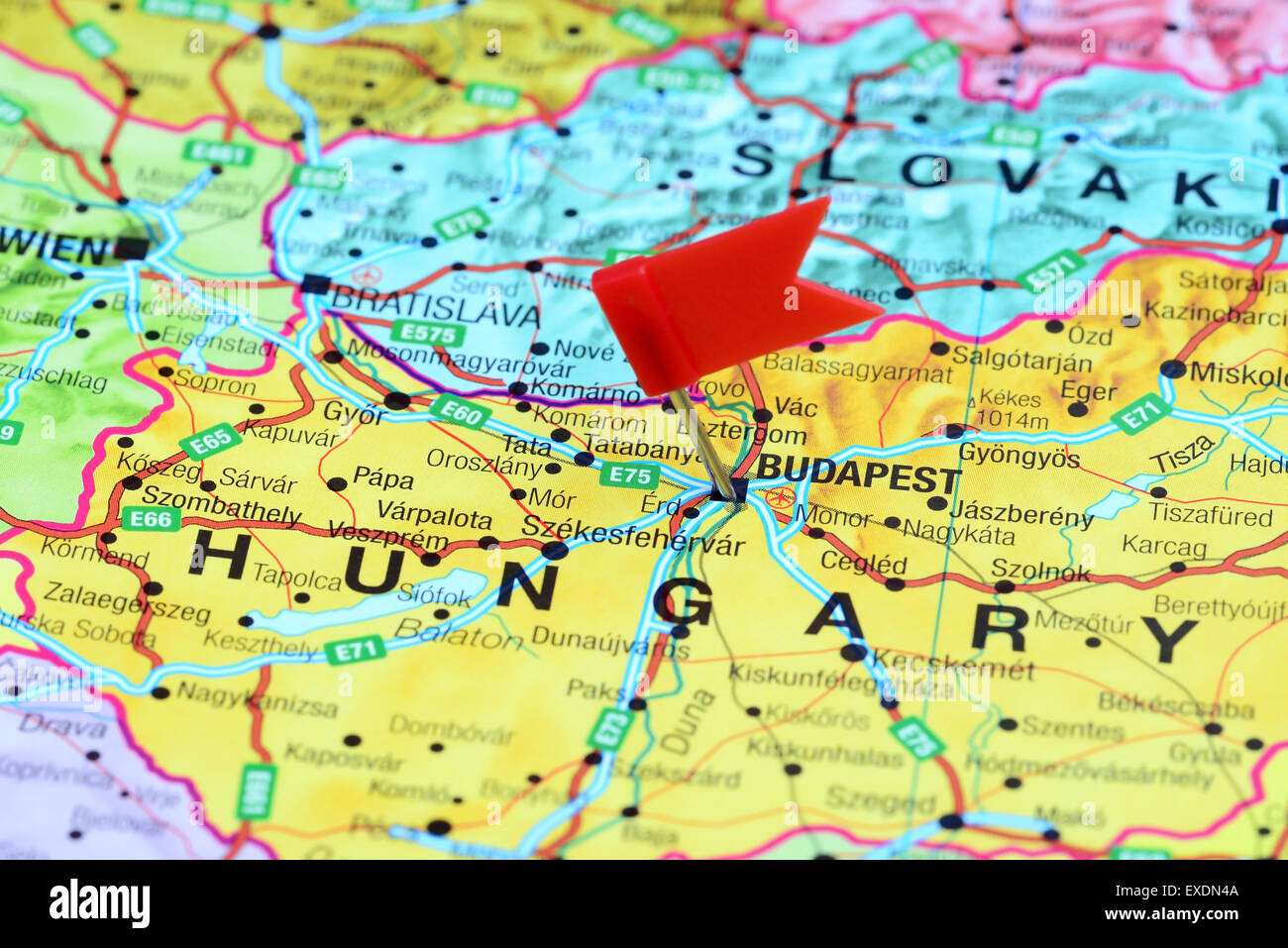 budapest on europe map Budapest Pinned On A Map Of Europe Stock Photo Alamy budapest on europe map