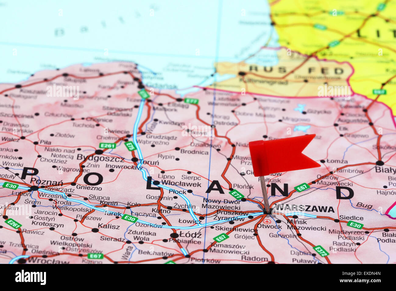 Warsaw Europe Map.Warsaw Pinned On A Map Of Europe Stock Photo 85124501 Alamy
