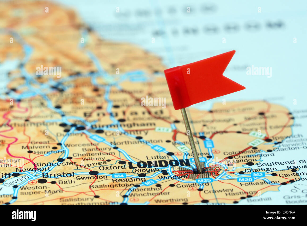 London Pinned On A Map Of Europe Stock Photo 85124546 Alamy
