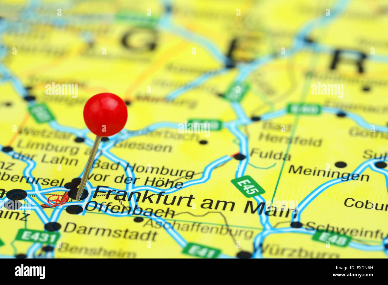 Close Up Frankfurt Germany Map Red Stock Photos & Close Up Frankfurt ...