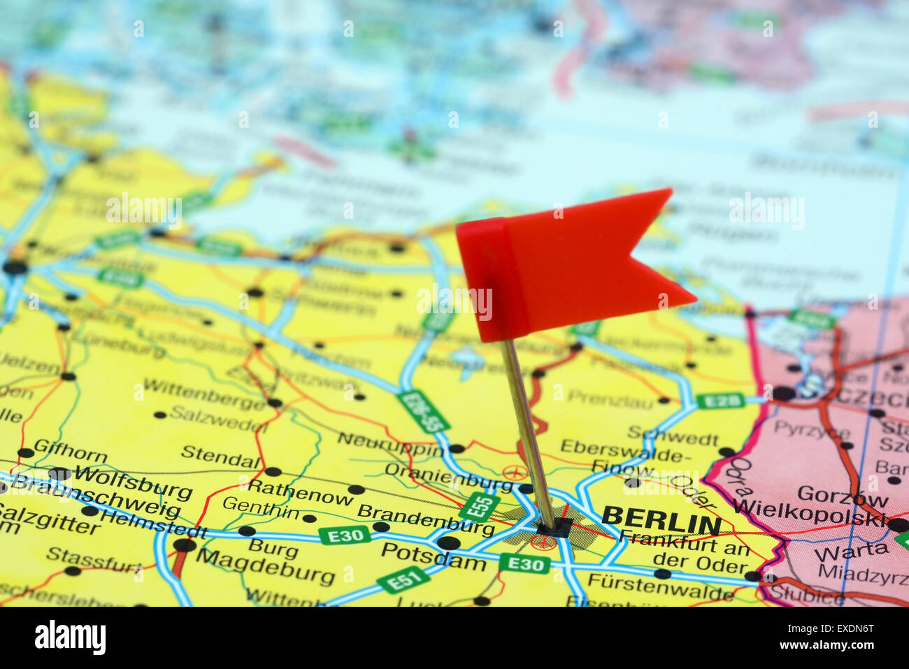 Berlin Pinned On A Map Of Europe Stock Photo 85124560 Alamy