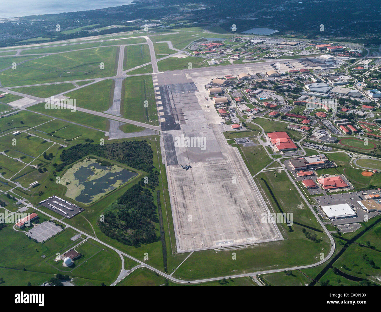 Aerial view of MacDill Air Force Base in Tampa Florida - Stock Image