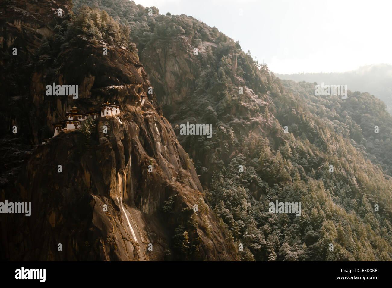 Cliff of Taktsang Monastery (Tiger's Nest) - Bhutan - Stock Image