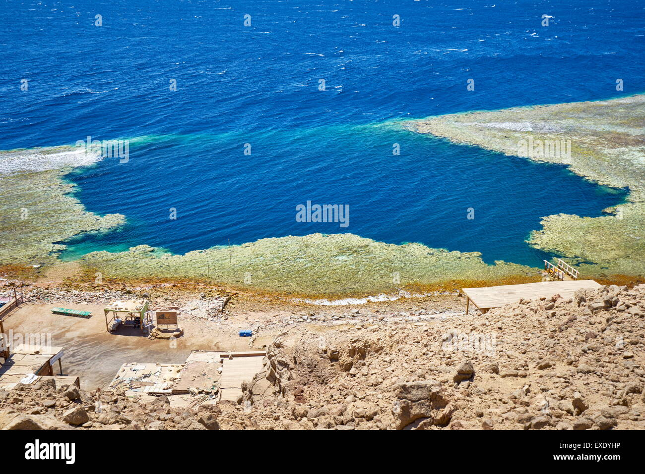 Blue hole, Dahab, Sinai, Red Sea, Egypt - Stock Image