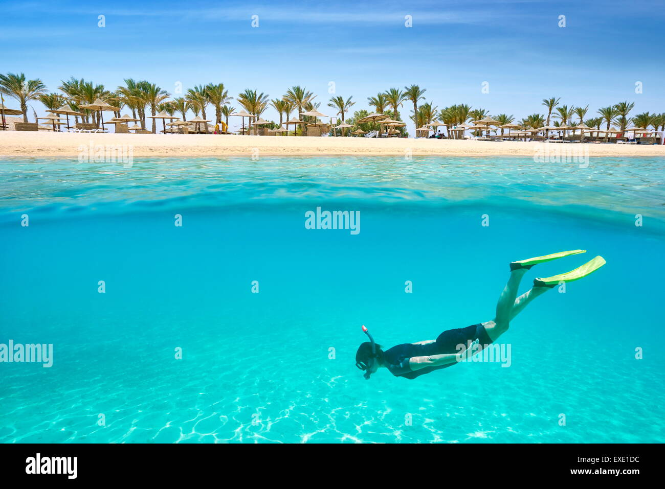 A young woman snorkeling underwater, Marsa Alam Reef, Red Sea, Egypt - Stock Image