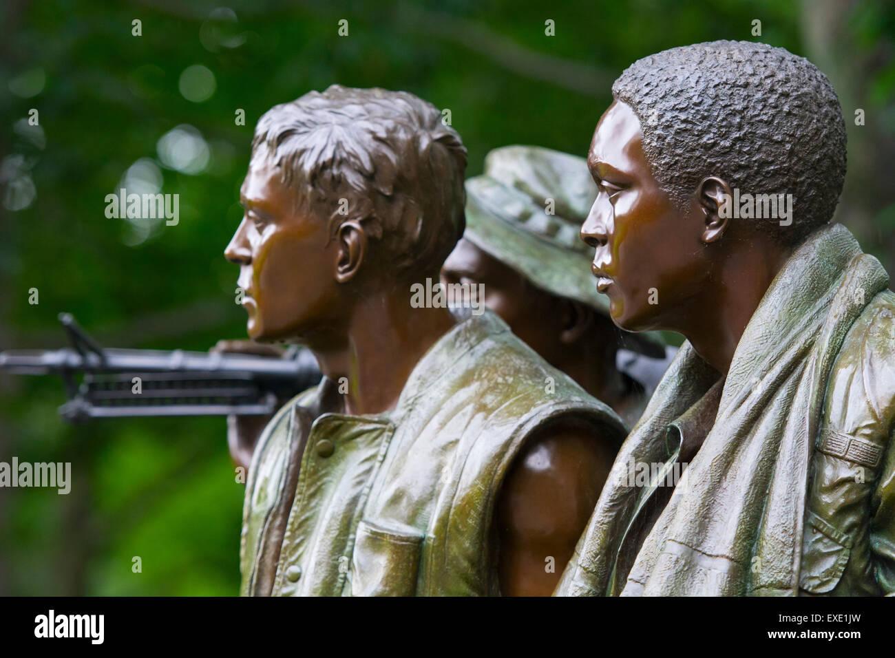 Vietnam War Veterans Memorial Statue, Three Servicemen, Washington DC - Stock Image