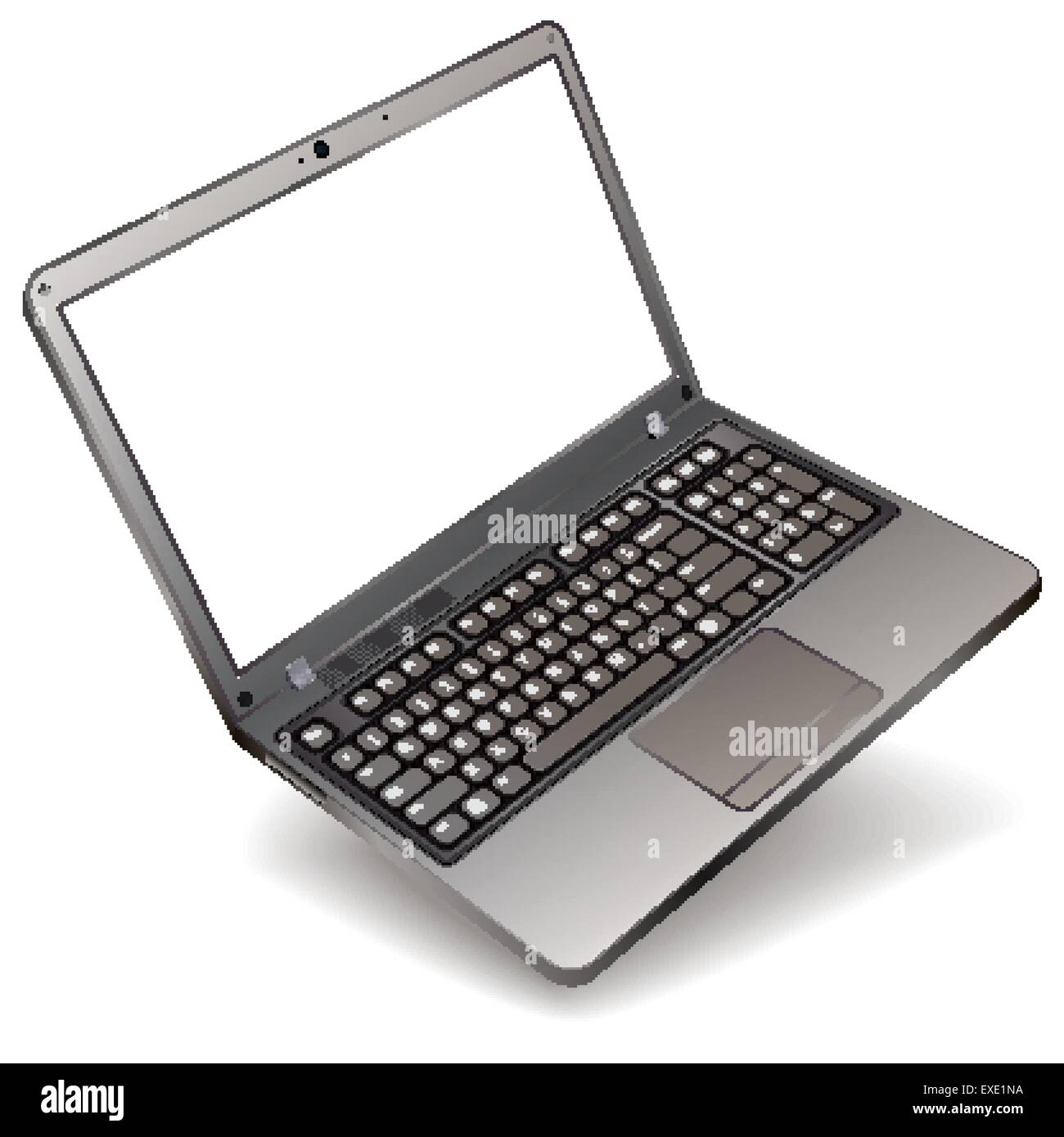photo realistic laptop with blank screen isolated on white background - Stock Image