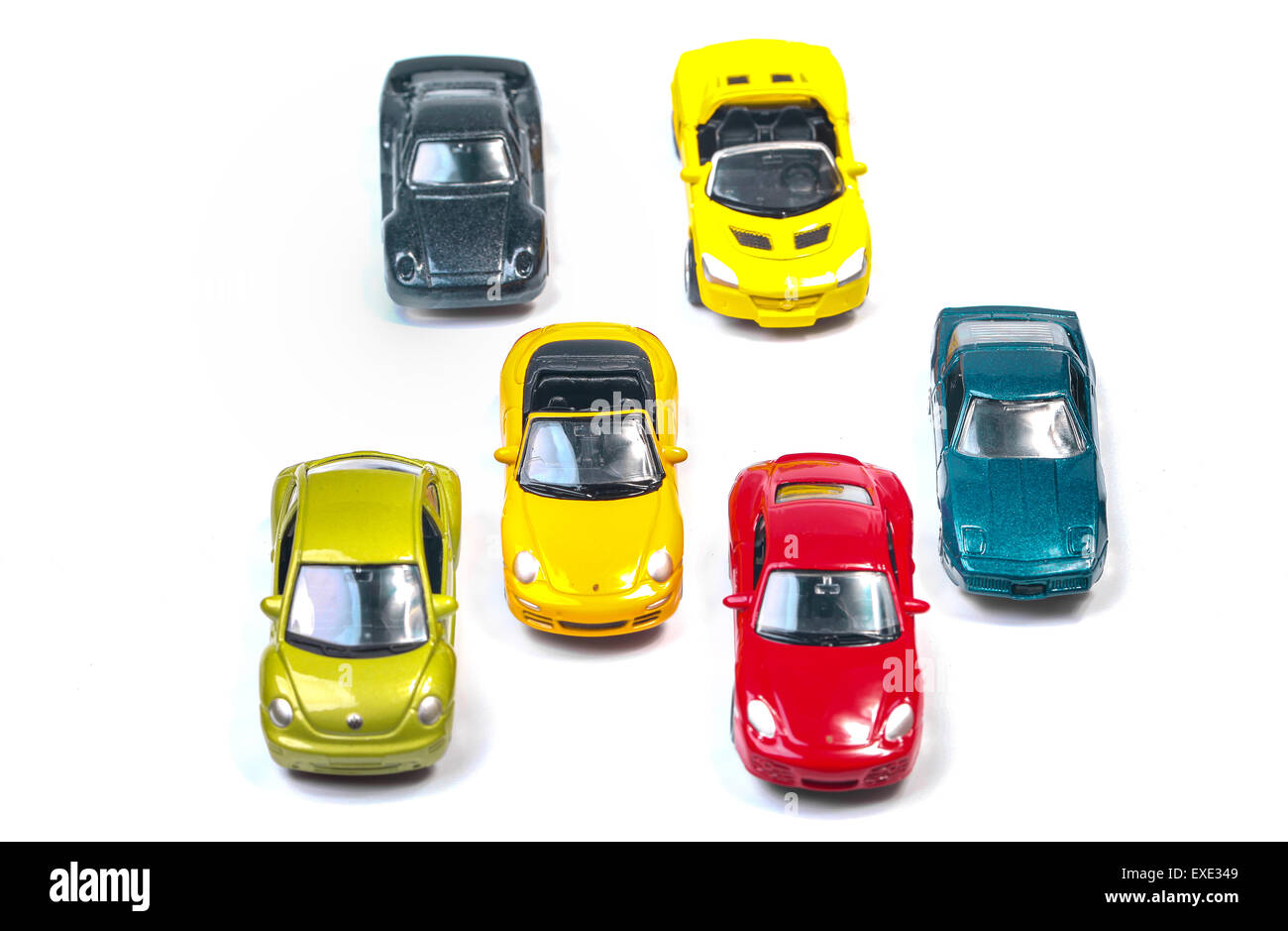 High angle view on colorful toy cars - Stock Image