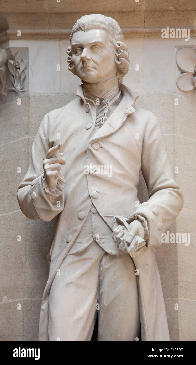 Statue of Priestly discoverer of oxygen,one of several statues of learned men on display at the Oxford museum of Stock Photo