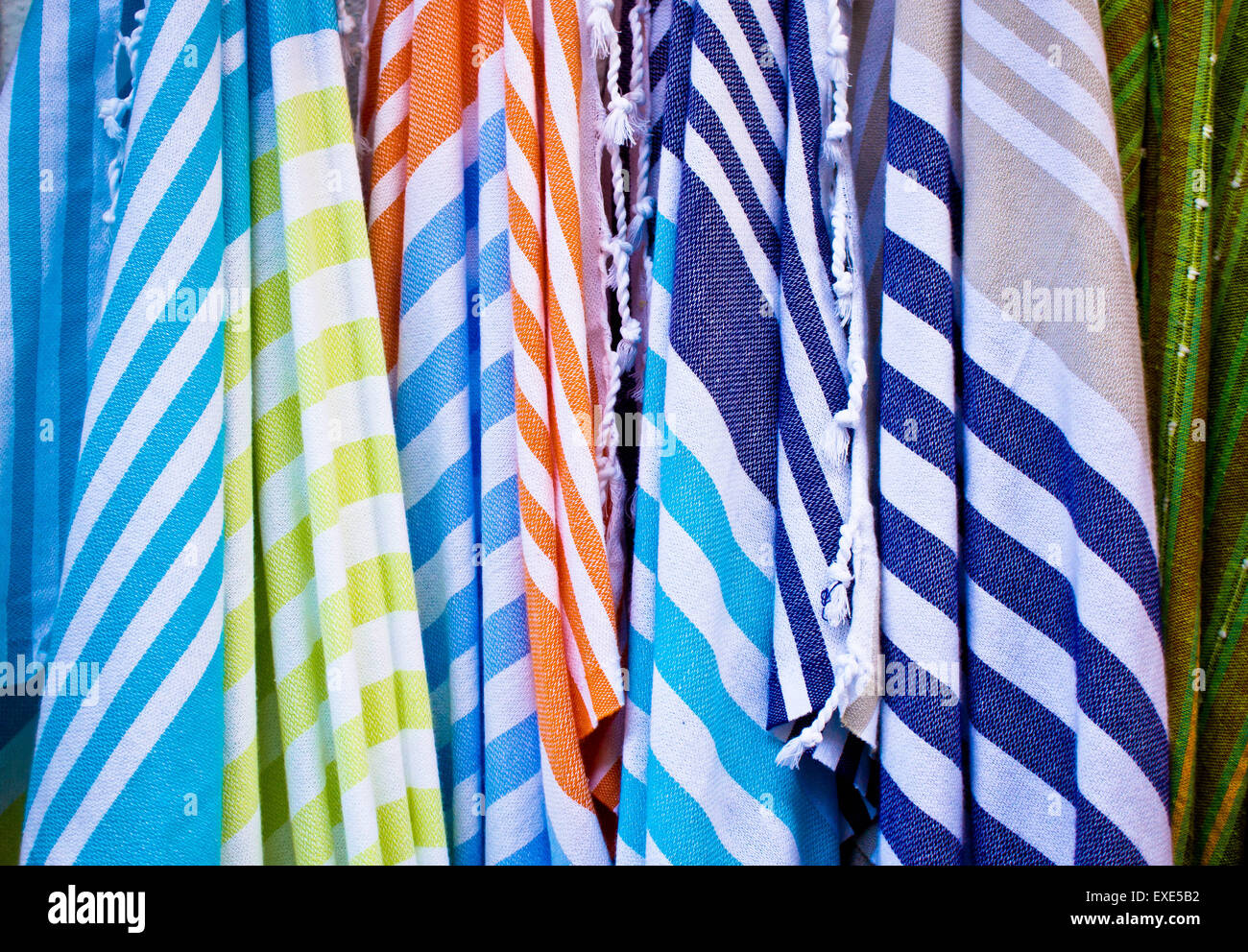 Colorful striped textiles as a background image Stock Photo