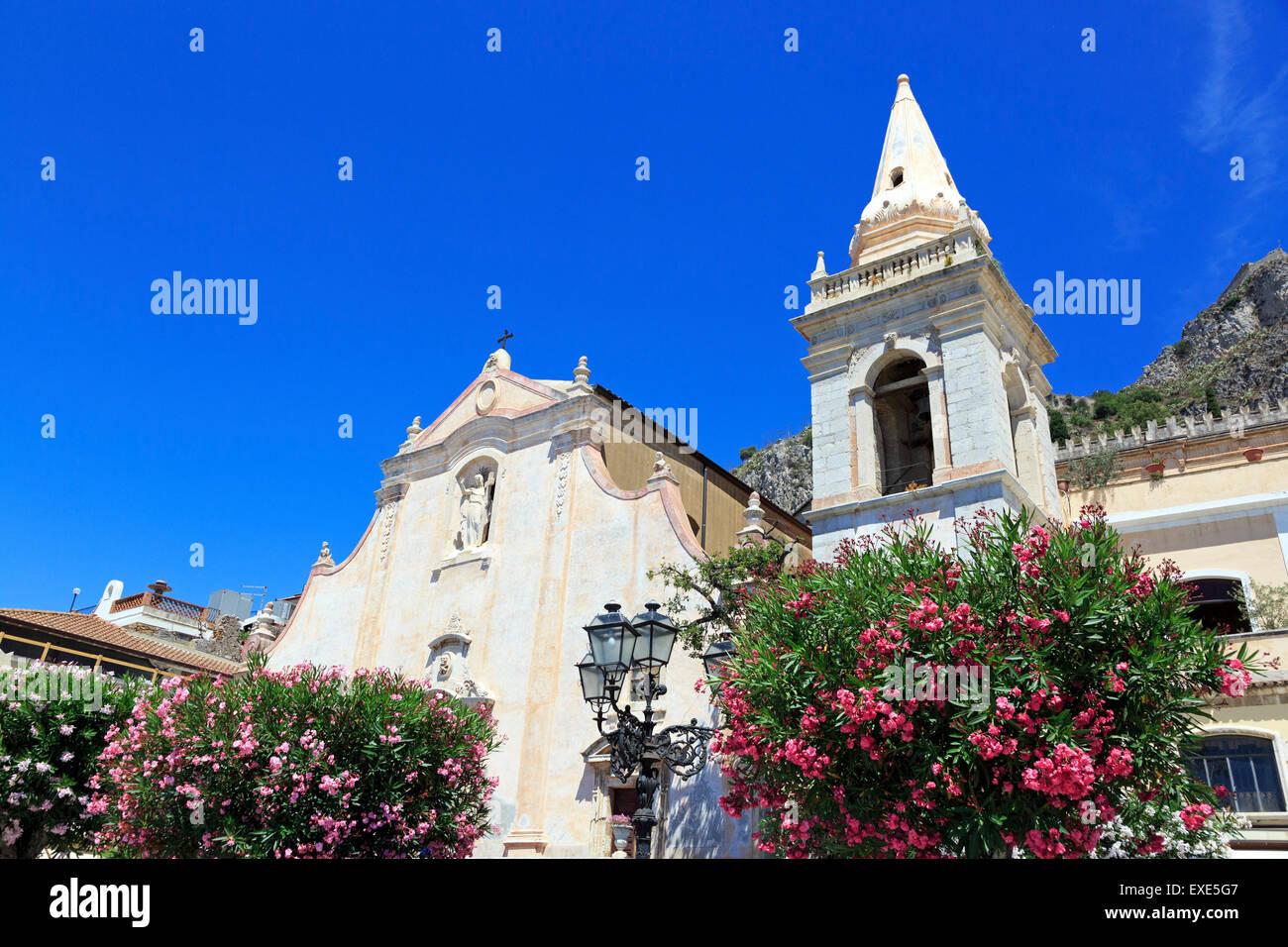 Church of San Giuseppe in Aprile Square, Taormina, Messina district, Sicily, Italy - Stock Image