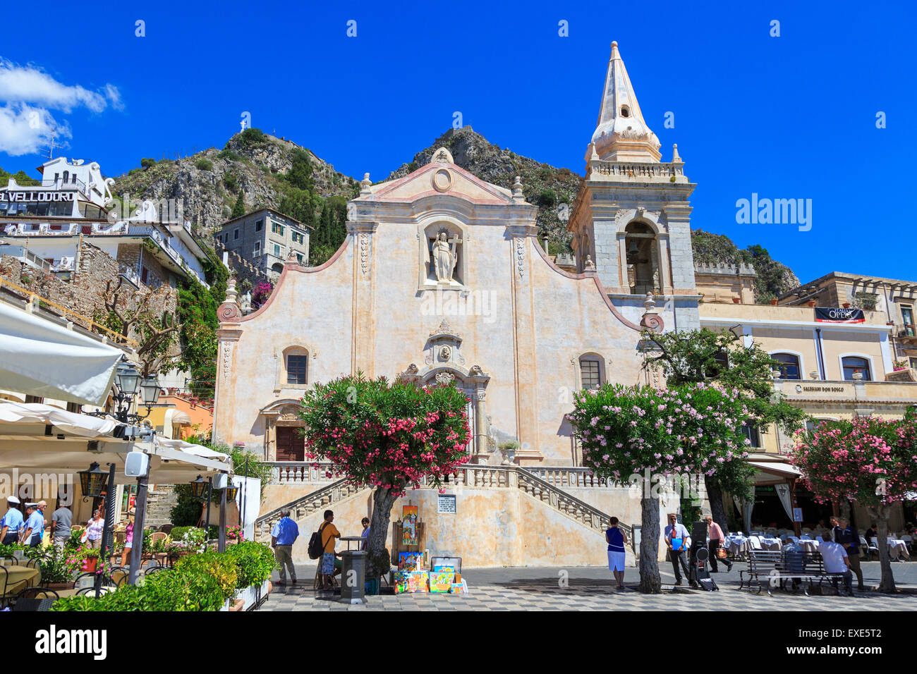 San Giuseppe Church in Aprile Square, Taormina, Messina district, Sicily, Italy - Stock Image