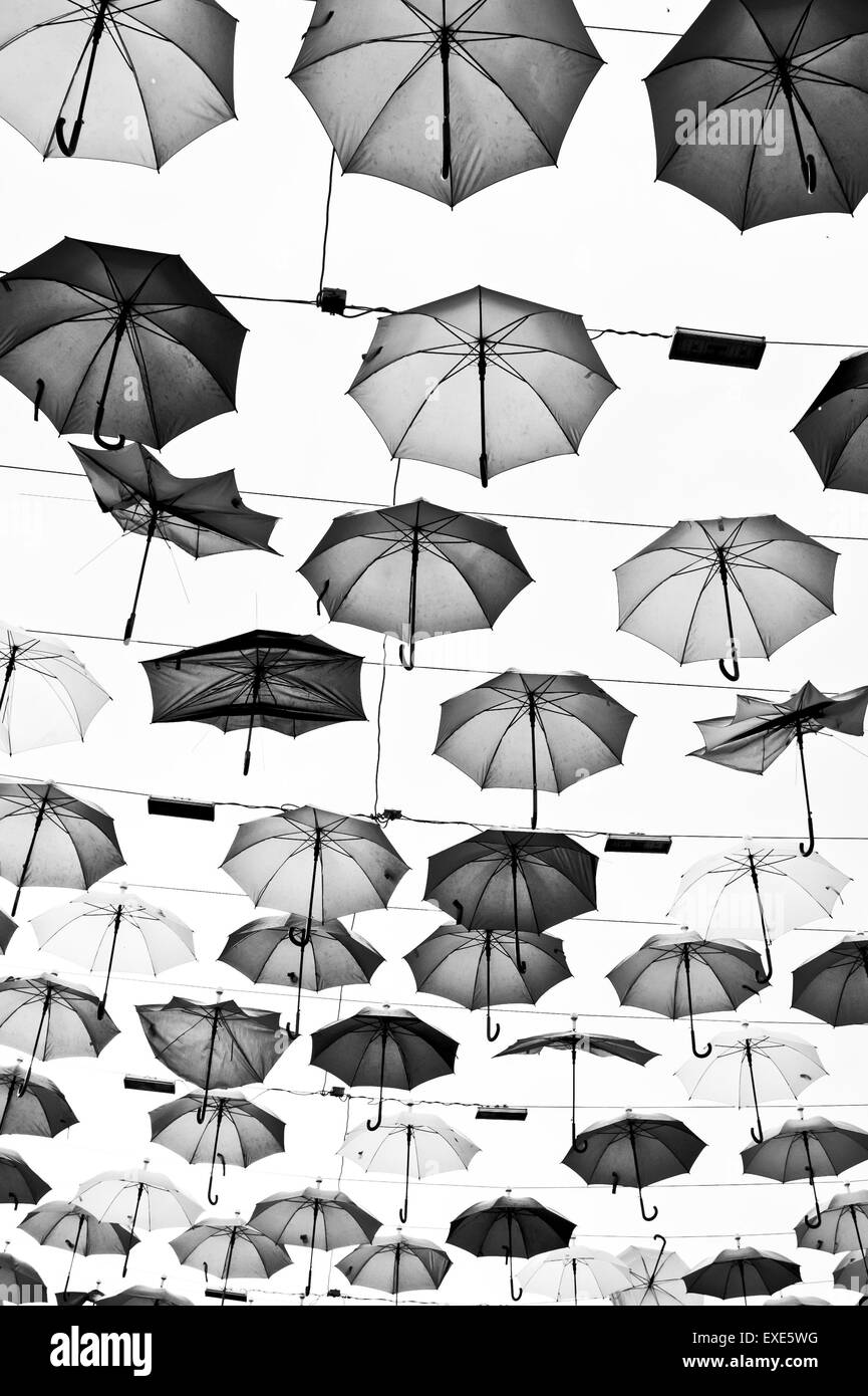 An overhead display of umbrellas in Turkey Stock Photo