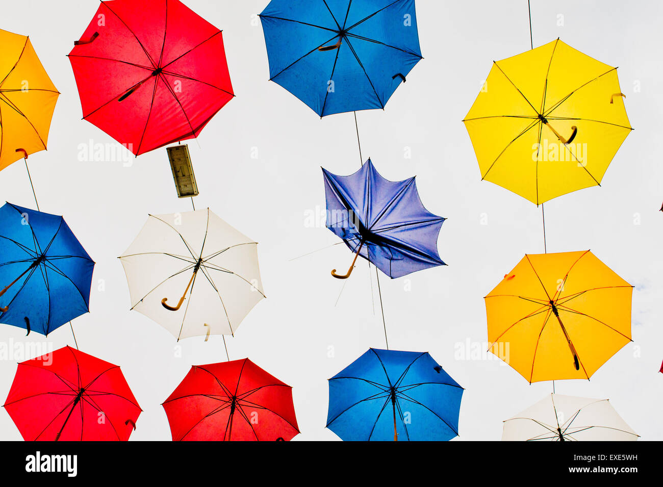 An overhead display of umbrellas in Turkey Stock Photo