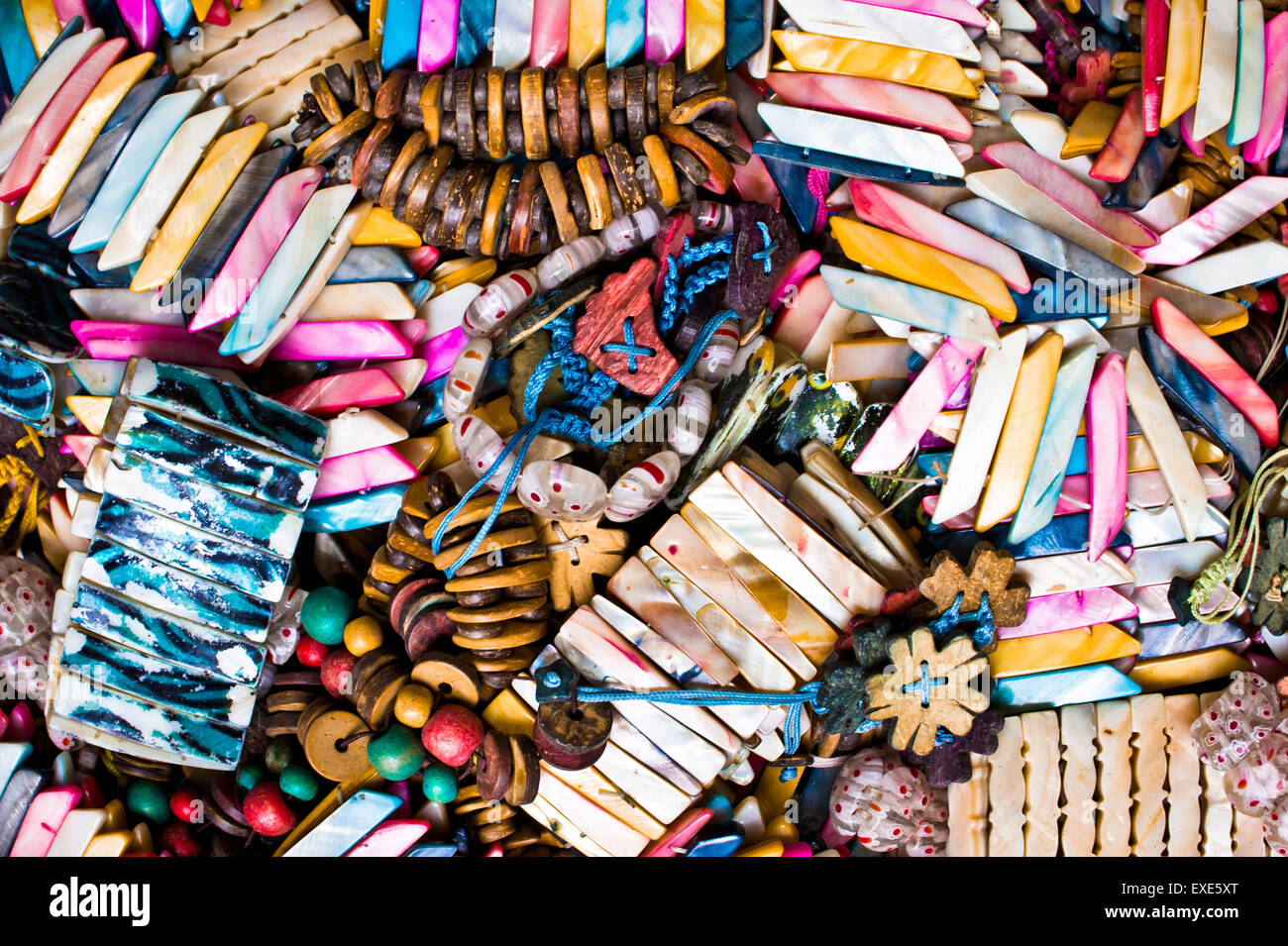 Souvenir bracelets and pendants at a Turkish market - Stock Image