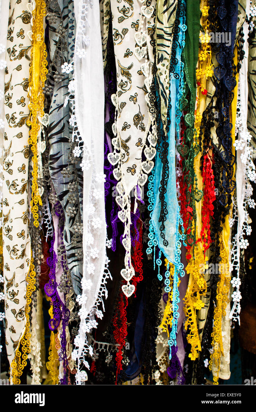 Ladies' scarves hanging at a market in Turkey Stock Photo