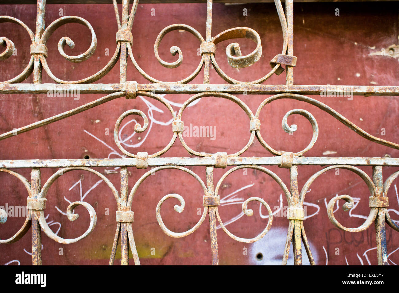 Part of an old ornate metal gate Stock Photo