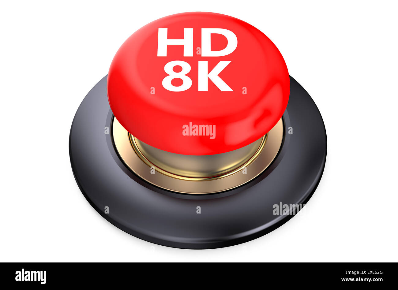'HD 8K' red pushbutton  isolated on white background - Stock Image