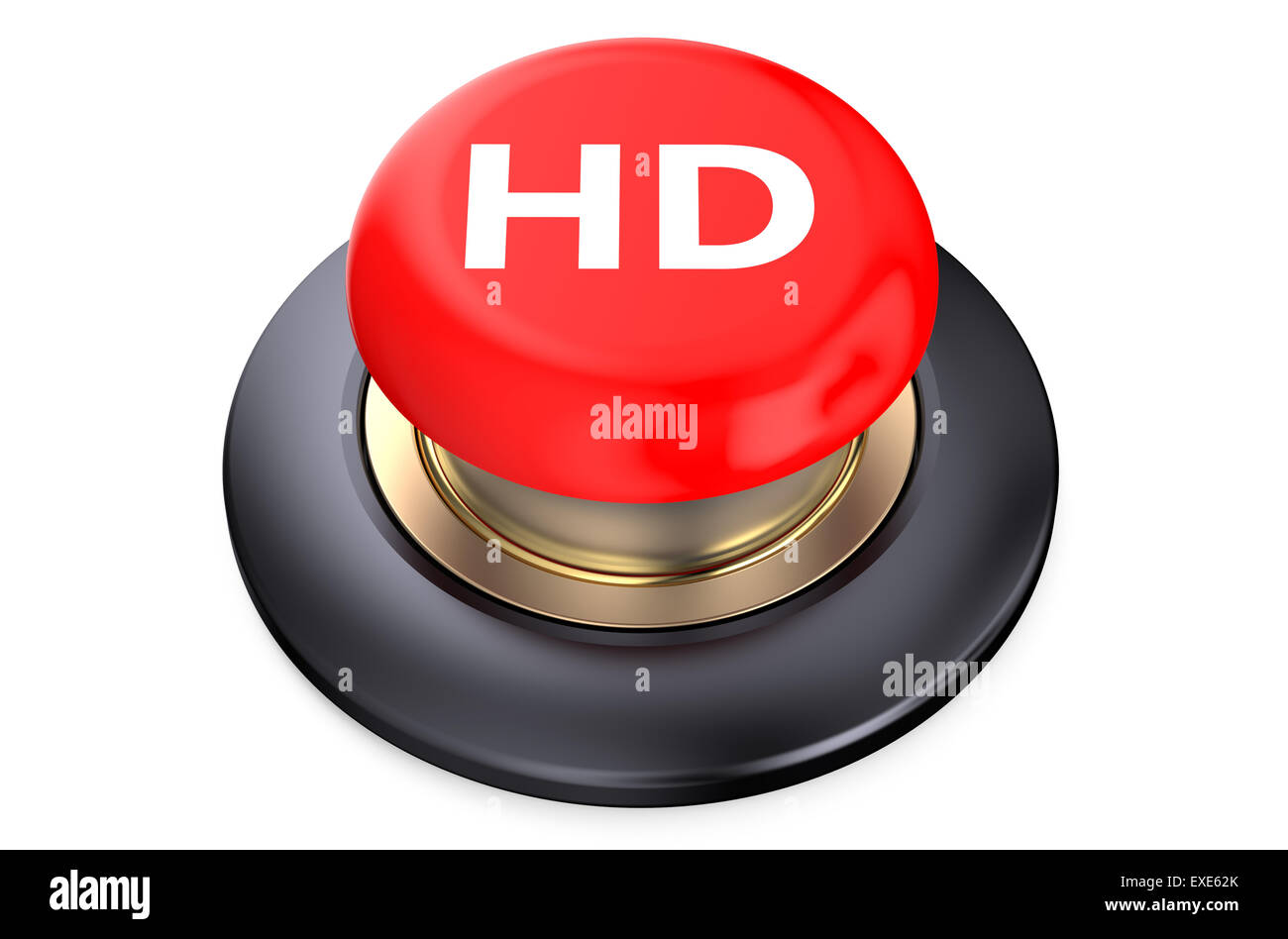 'HD' red pushbutton isolated on white background - Stock Image