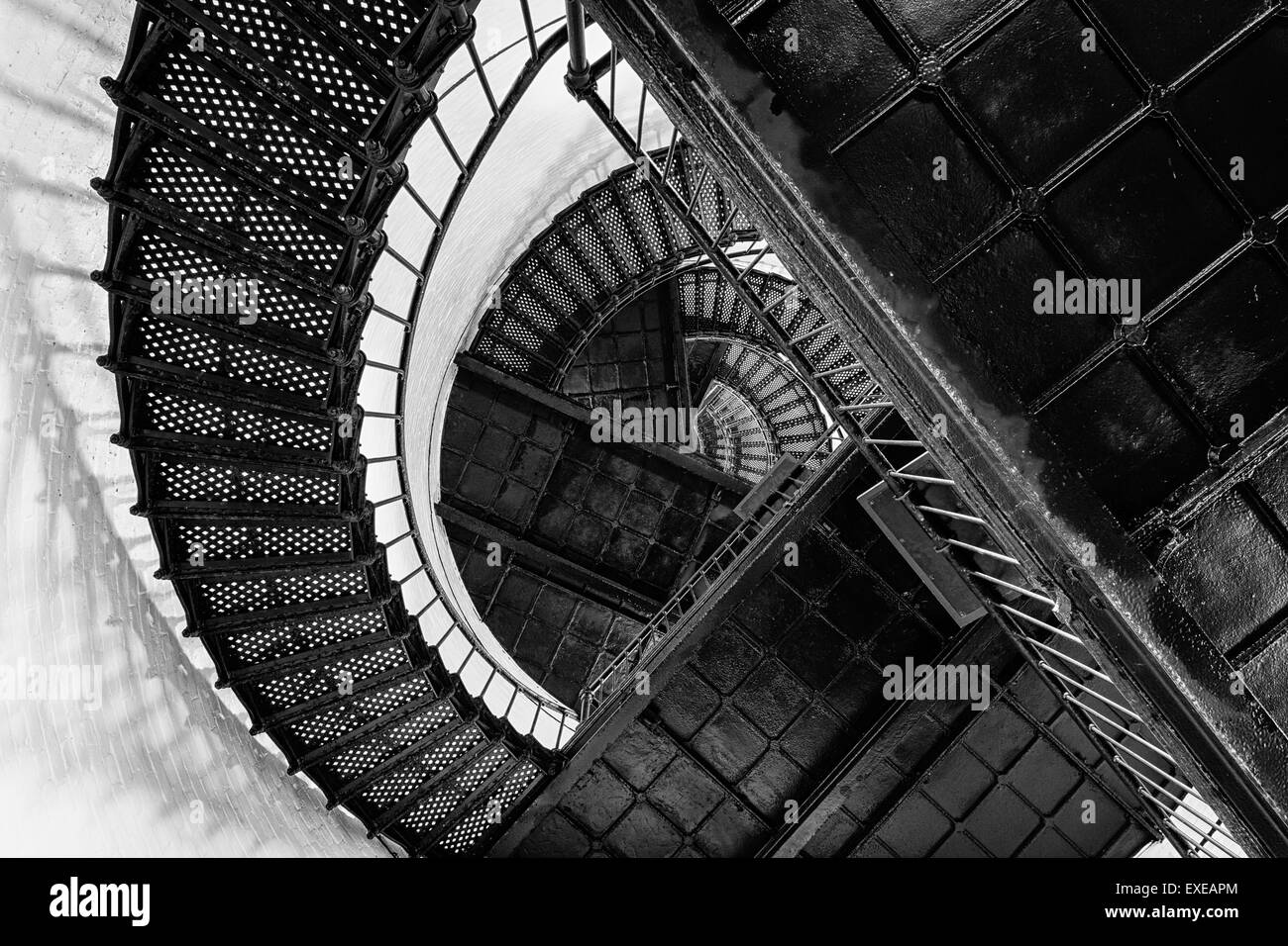 Hunting Island Lighthouse Staircase from below in black and white, Hunting Island, South Carolina - Stock Image