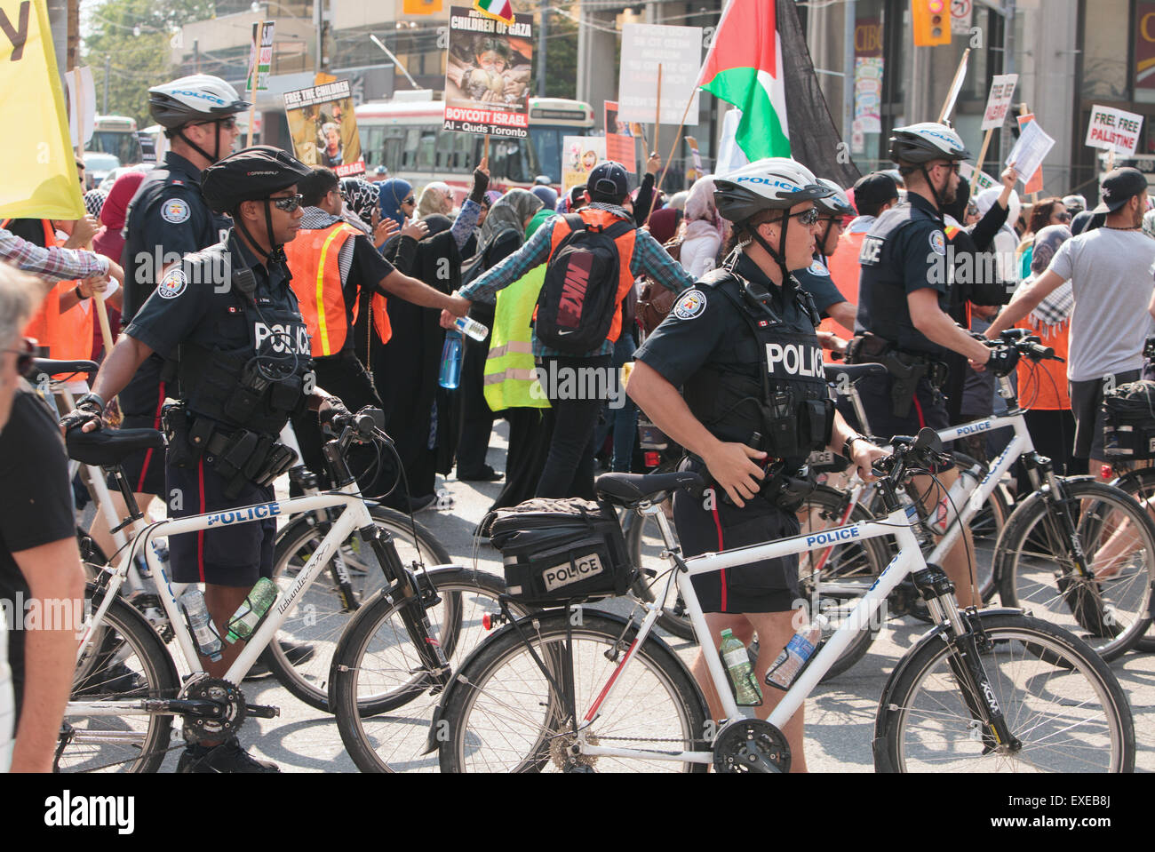 TORONTO,CANADA  JULY 11,2015:  Al Quds Day demonstration  across the street from the US Consulate General - Stock Image