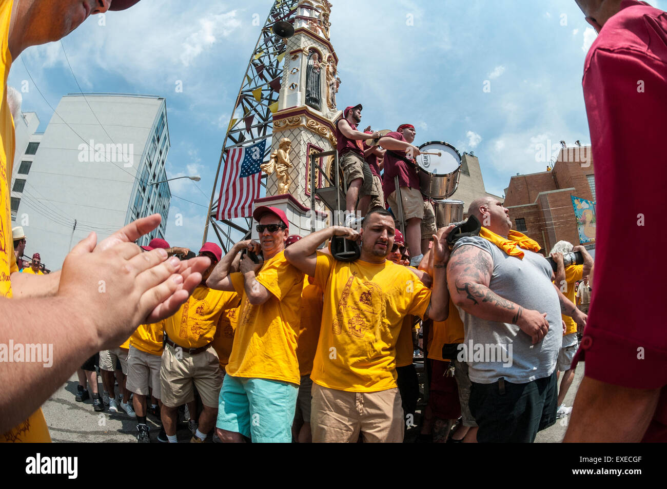 Brooklyn, New York -12 July 2015 120 parishioners of Our Lady of Carmel carry the Giglio through the streets for - Stock Image