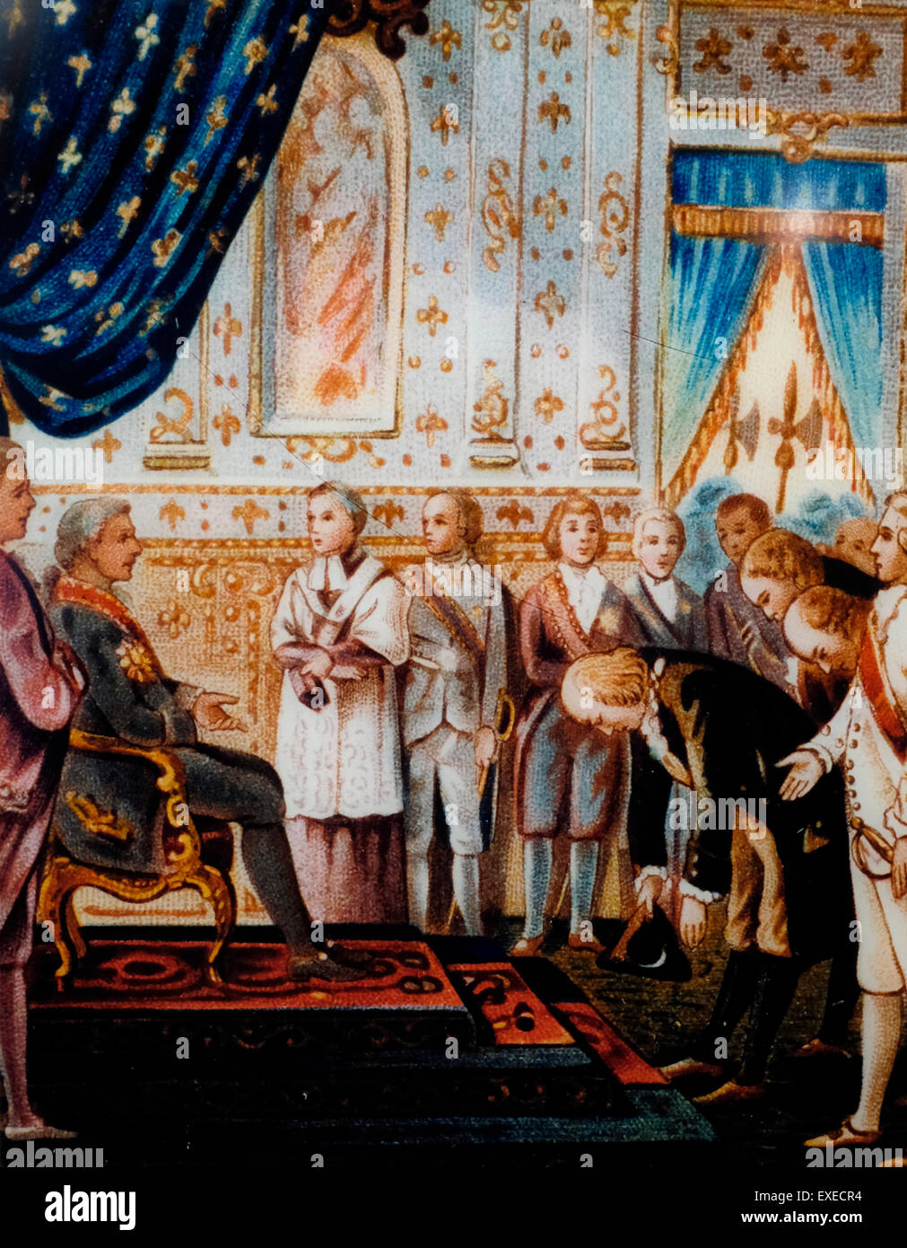 Benjamin Franklin's first audience with King Louis XVI, at Versailles, March 20 1778 - Protocol did not permit - Stock Image
