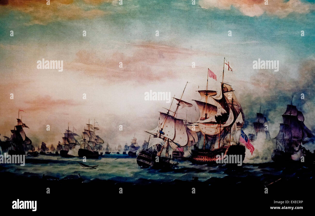 The Battle of the Saints, April 12, 1782 - End of the Action - The French fleet which prevented British reinforcement - Stock Image