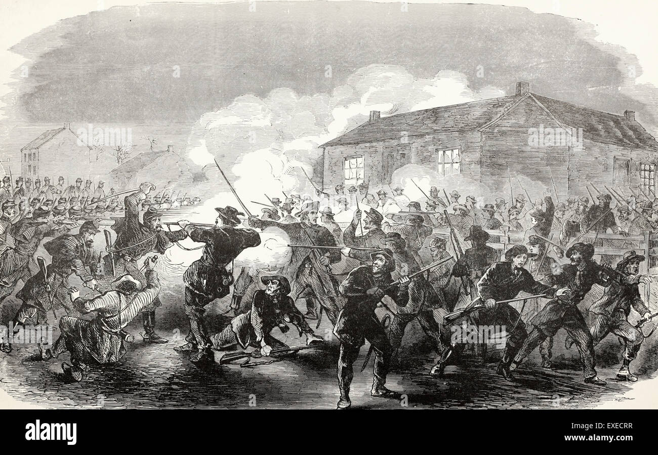 Night attack on the Federal forces under Major Bowen occupying Salem, Missouri by the Confederate forces under Colonel - Stock Image