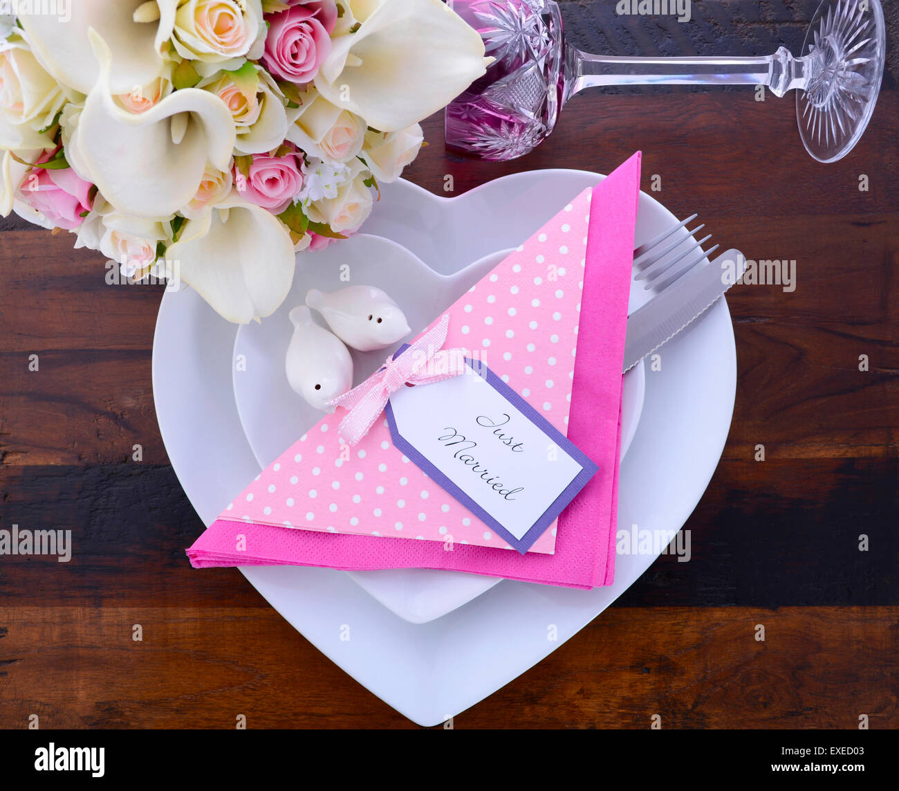 Pink Theme Wedding Table Place Setting with white heart shape plates ...
