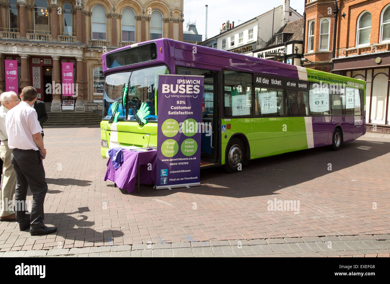 Public promotion publicity event for bus service in central Ipswich, Suffolk, England, UK - Stock Image