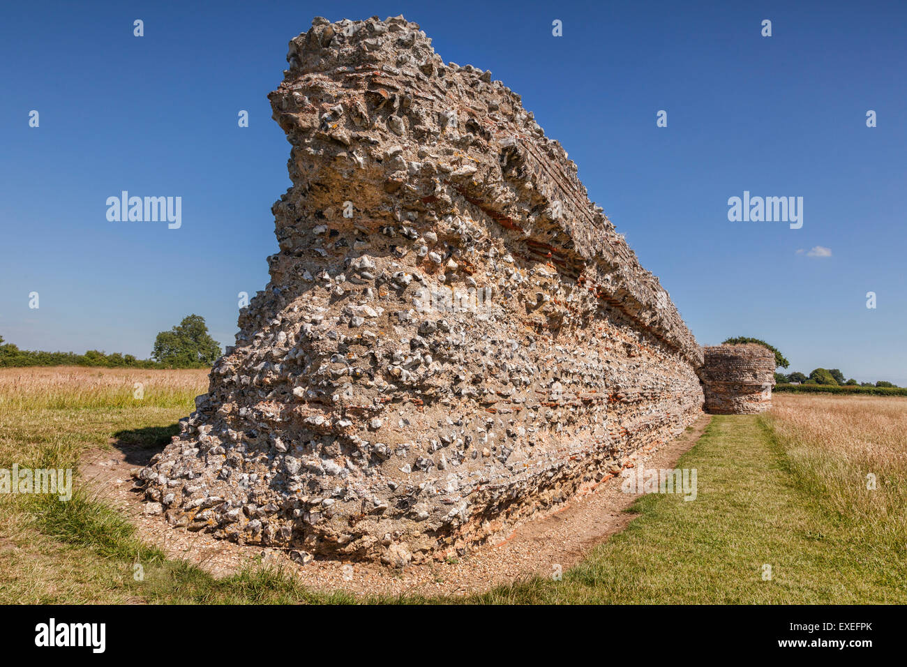 Burgh Castle Roman Fort near Great Yarmouth, Norfolk, England - Stock Image