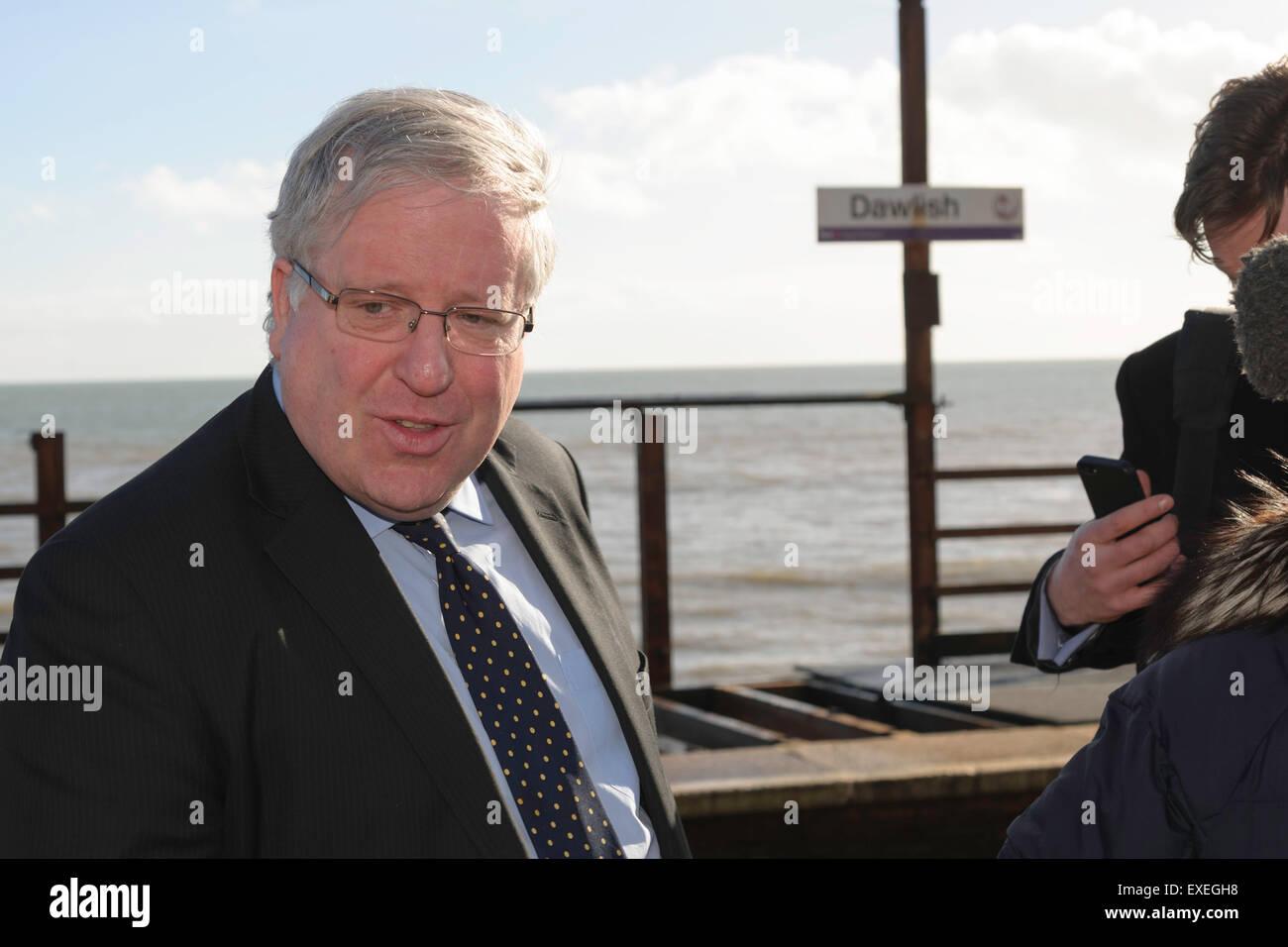 Transport Secretary Patrick McLoughlin visit to Dawlish Devon UK February 2014 - Stock Image