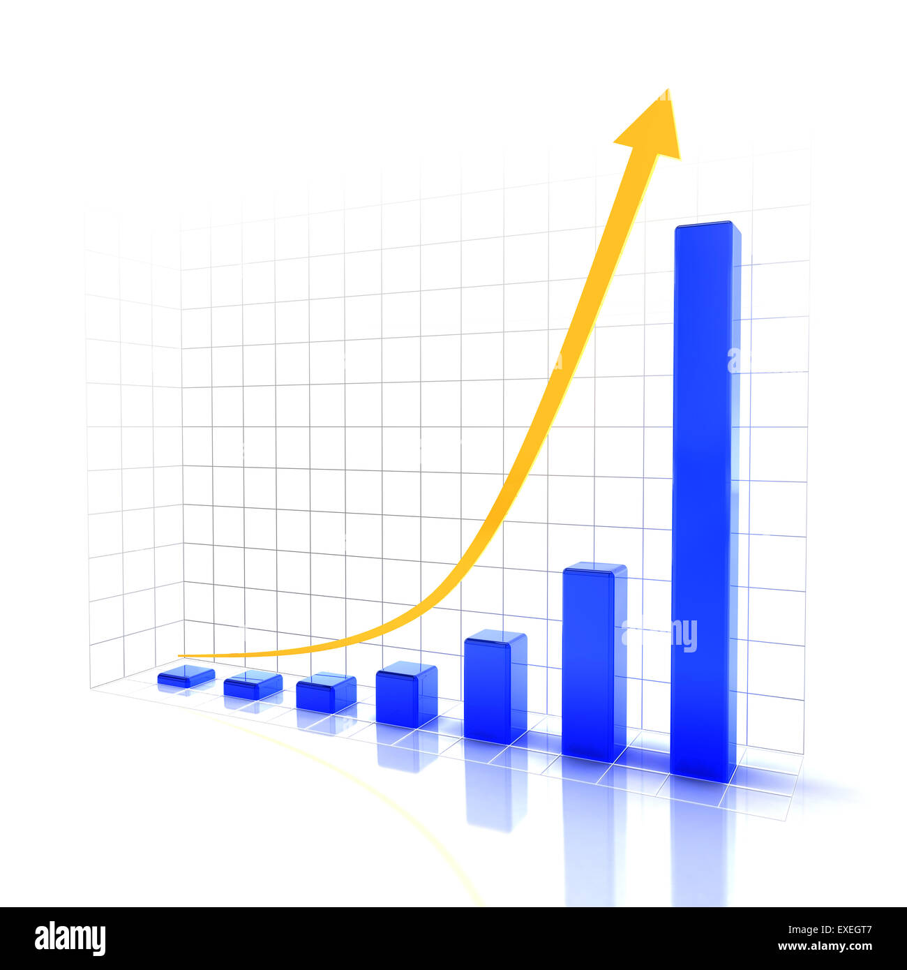 Chart showing future rising trend - Stock Image