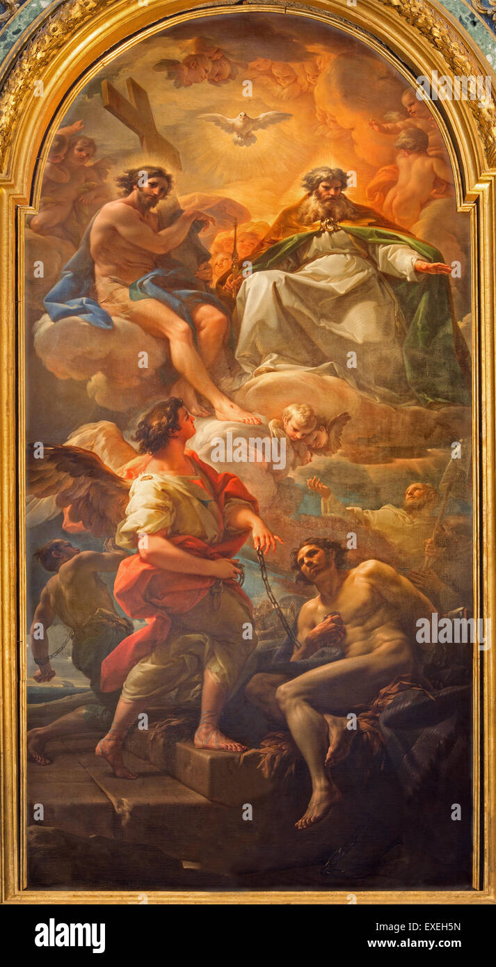 ROME, ITALY - MARCH 25, 2015: The Paint Holy Trinity and the liberation of the one slave by Corrado Giaquinto - Stock Image